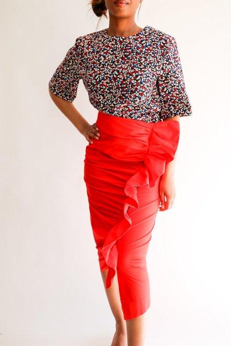 Pre-loved Isa Arfen Ruffle Trim Midi Skirt - red