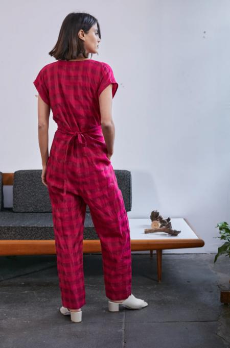 RUJUTA SHETH Venus Wrap Jumper - Hot Pink Chex