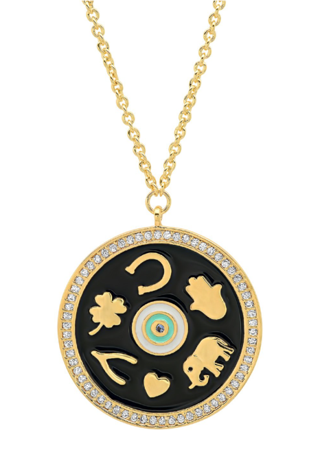 tai Enamel Luck Pendant Necklace - Gold-Plated Brass