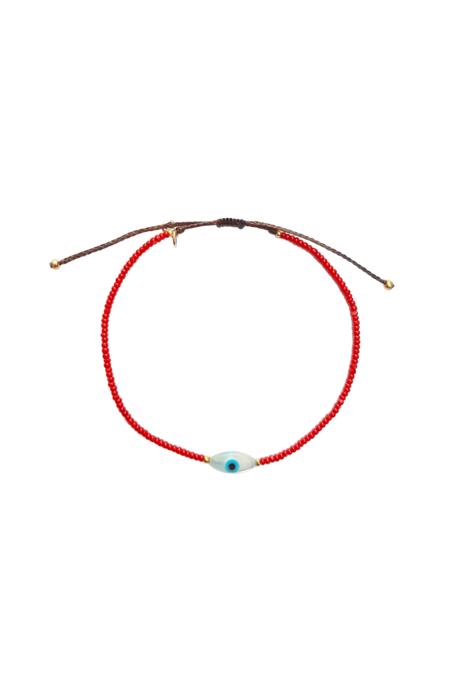 tai Seed Bead Tear Eye Bracelet - red