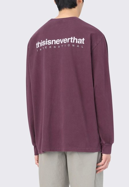 ThisIsNeverThat Intl Logo Long Sleeve tee - burgandy