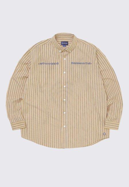 ThisIsNeverThat MI Logo Striped Shirt - yellow