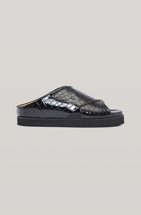 Ganni Croc Embossed Leather Cross Over Sandal - Black