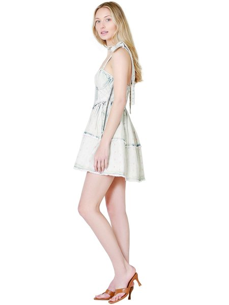 LoveShackFancy Dorna Mini Dress - Acid Wash Pink