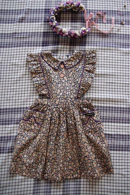 Kids Reina Apron Dress - Blue Flowers