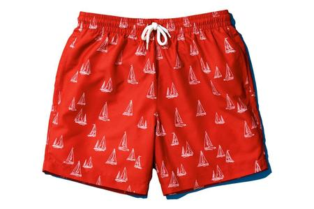 Milworks Easy Swim Trunk - Coral/Nautical Print