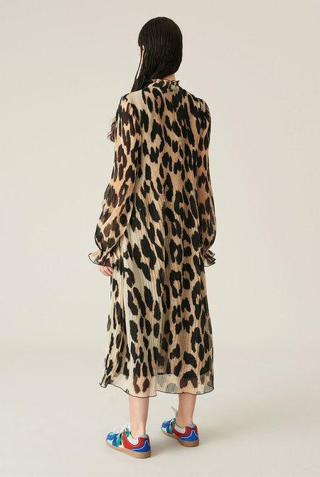 Ganni Pleated Georgette Dress - Leopard