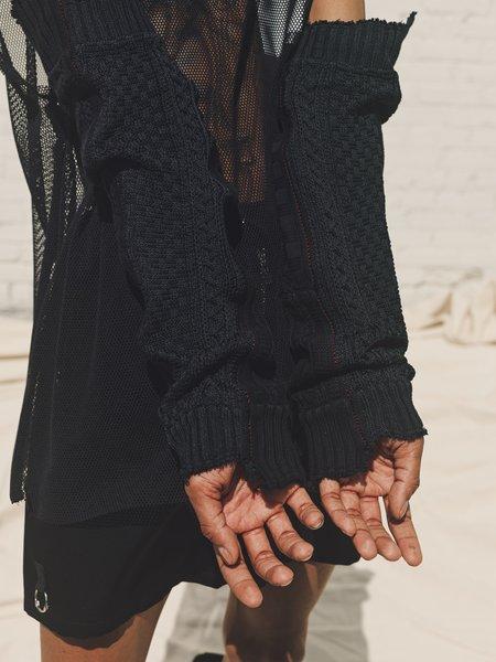 TAKAHIROMIYASHITA The Soloist. Not Sleeve Deconstructed Patchwork Cotton Knit Sleeves - Black