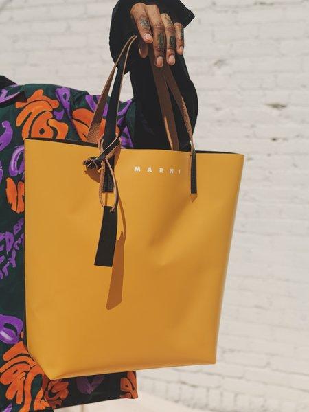 Marni PVC Tall Shopping Bag - Yellow/Grey
