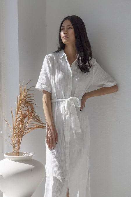 Descendant Cotton Gauze Shirt Dress - White
