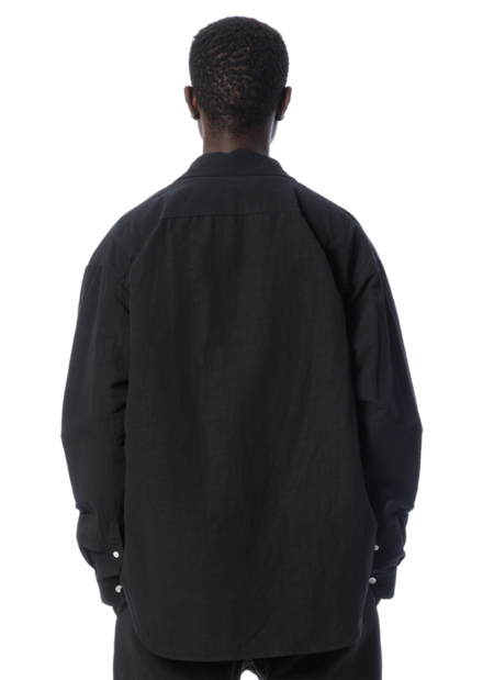 Sandinista MFG Linen Fly-Front Shirt - Black