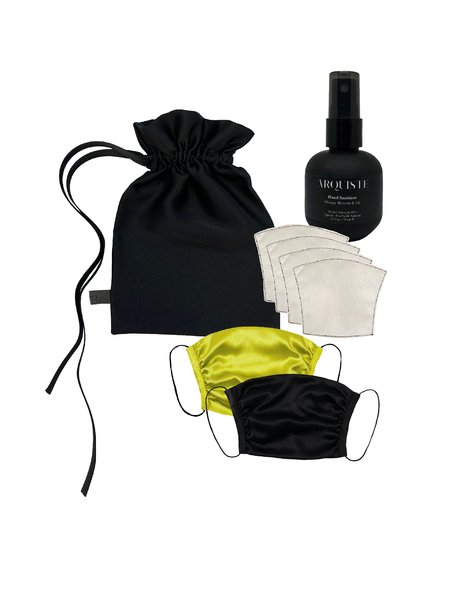 KES All In One Set Peace Covering, Sanitizer,Silk Pouch Set -Black