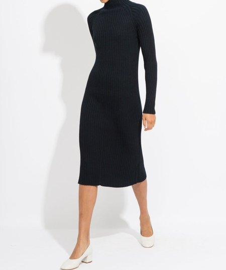Suzanne Rae Neck Knit Dress - Black/Navy