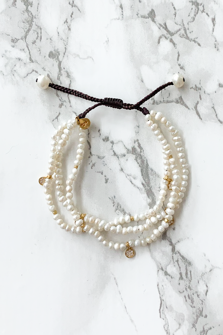 tai Mini Disc Bracelet - Pearl