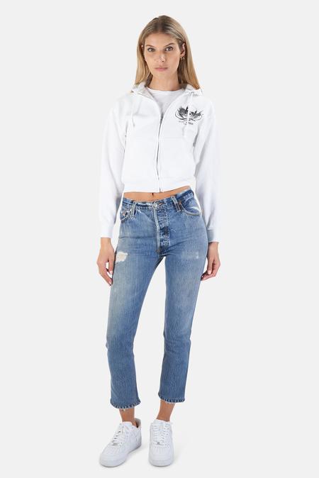 Blue&Cream Skull Crop Hoodie Sweater - White/Black