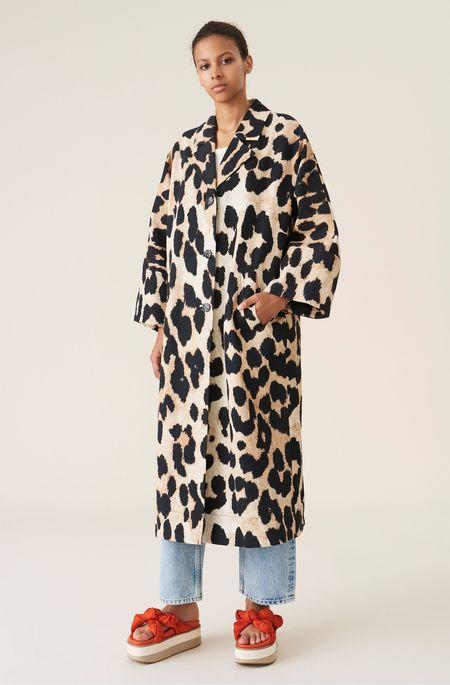 Ganni Linen Canvas Coat - Maxi Leopard