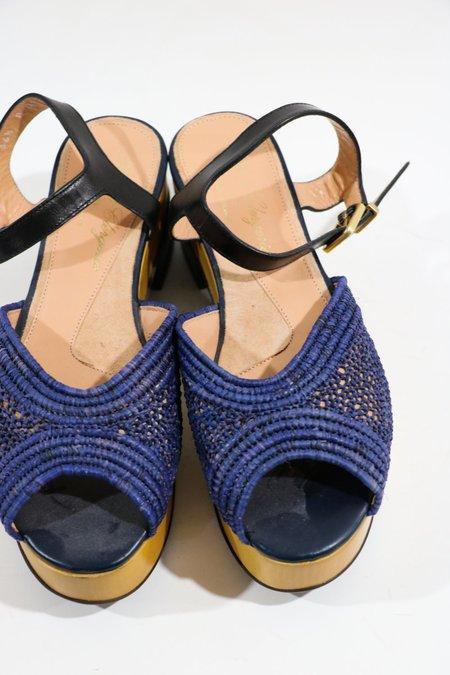 [Pre-loved] Robert Clergerie Peep Toe Flatform Sandals