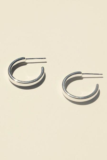 BRIE LEON 925 Elle Stud Hoop Earrings - Silver