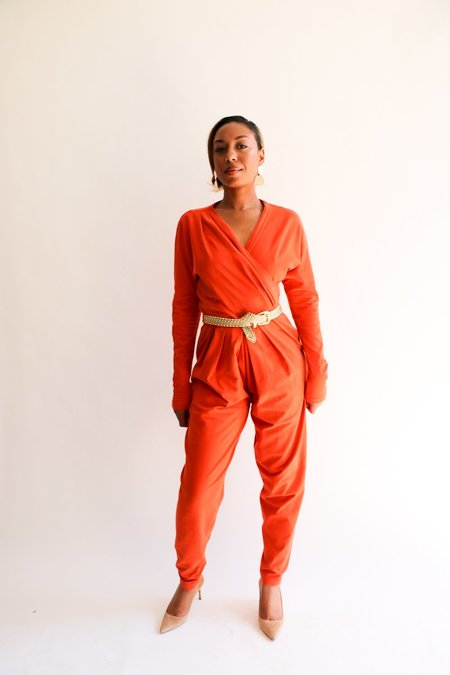 Vintage Tapemeasure Jumpsuit - Orange