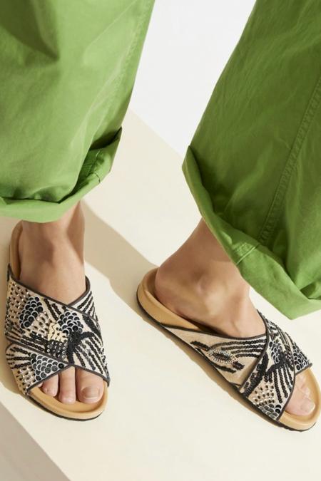 Maliparmi Handbeaded Criss-Cross Flip Flops - Nude