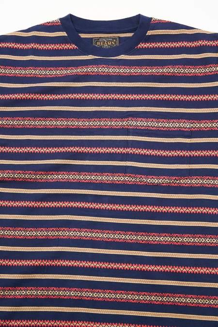 Beams Plus Pocket Tee - Jacquard Stripe Navy