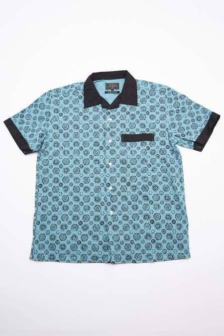 Beams Plus Short Sleeve Open Combination Collar Takashima Chijimi Print Shirt - Blue