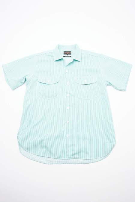 Beams Plus Short Sleeve Work Stripe Shirt - Green