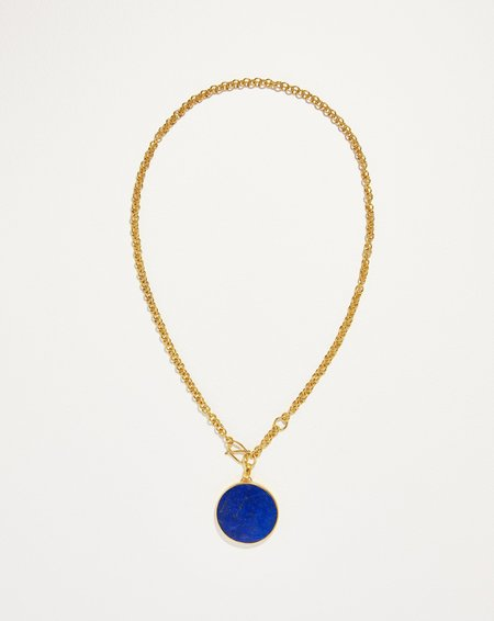 Pamela Love Full Moon Necklace - Yellow Gold/Lapis