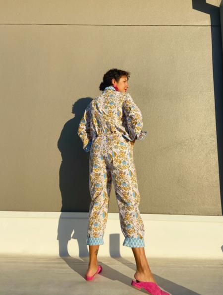 SZ Blockprints Jumpsuit - Violet/Sand Padra Print