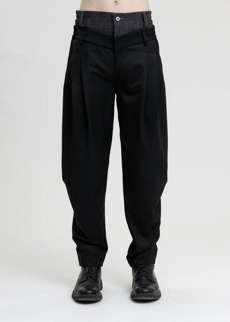 Feng Chen Wang Wool Blend Double Waistband Trousers - Black