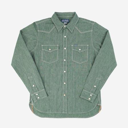 Iron Heart IHSH-289 Mock Twist Selvedge Chambray Western shirt - Green