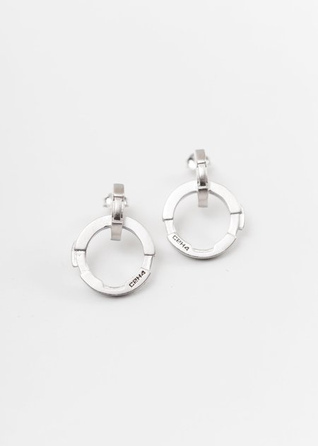 C2H4 Stereoscopic Combined Earrings - Silver