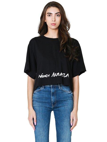 Maison Margiela Logo Print Cropped Tee - Black