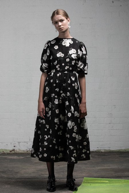 SALASAI STONE ROSES DRESS - BLACK ROSE