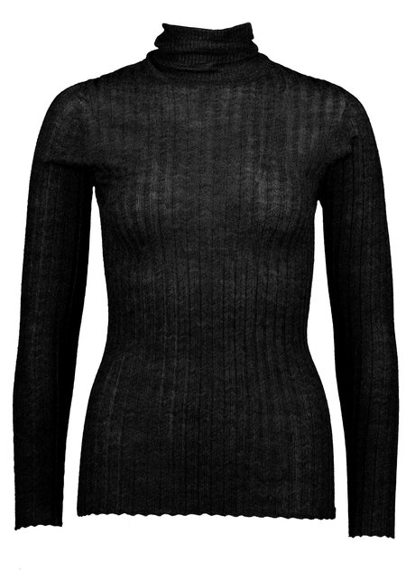 BEFORE MARCH Merino tulle skivvy - Black