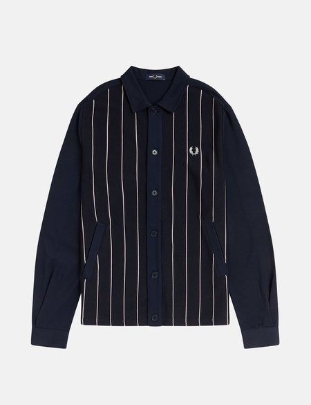 Fred Perry Knitted Panel Track Jacket - Navy Blue