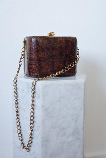 Vintage Alligator Leather Box Chain Bag - Brown
