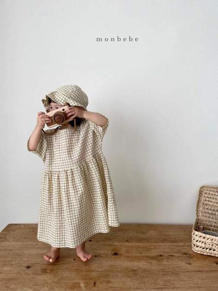 kids Monbebe Lio Dress - Yellow Check