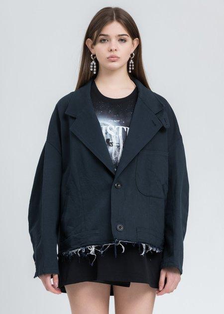 Doublet Silk Chino Cut Off Jacket - Dark Navy