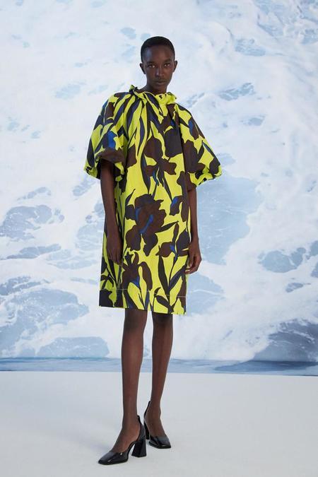 Odeeh Mix Floral Dress - Chartreuse