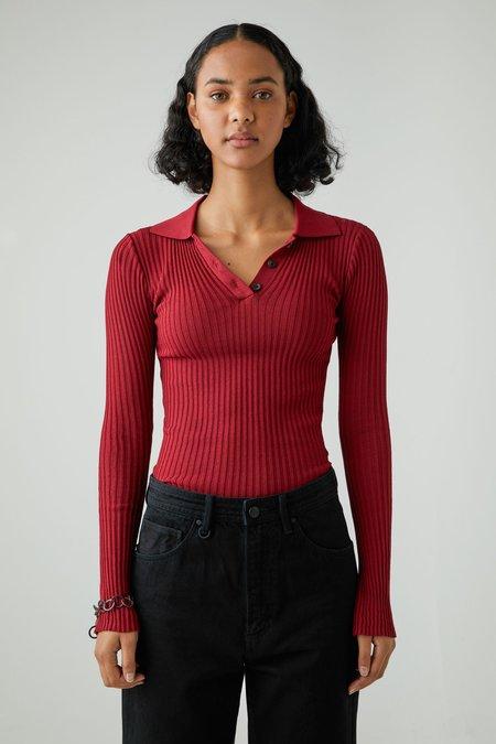 NEUW Jaye Rib Knit Deep top - Red