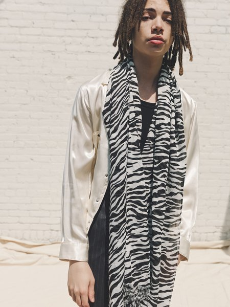 The Letters Modal Fringe Stole Scarf - Zebra