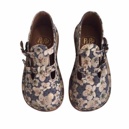 kids pèpè cornus double buckle strap shoe - navy/peach floral