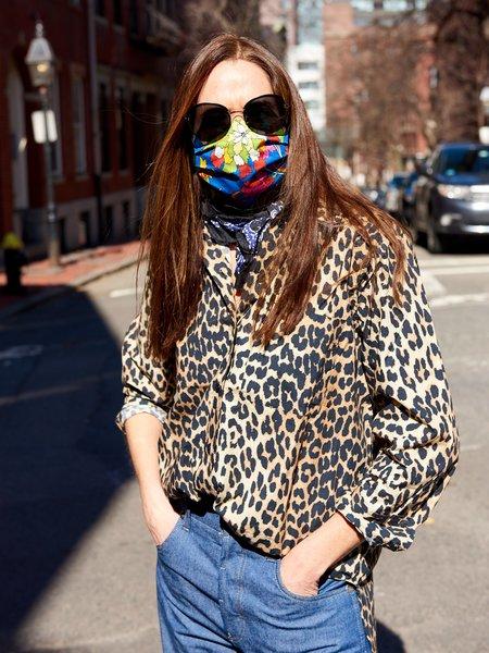 Ganni Frill Shirt - Leopard