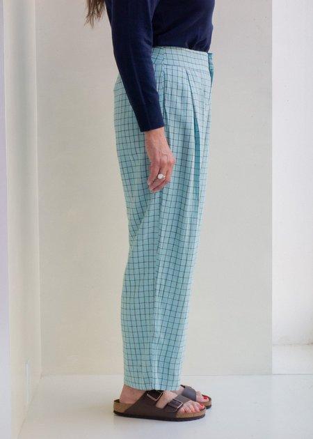 Nice Things Bauhaus Check Linen Pant - Light Blue