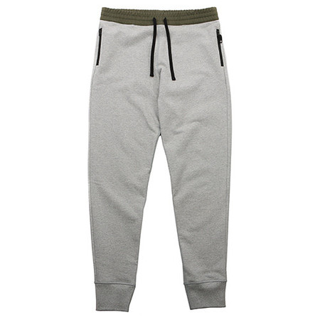{ie WOVEN WAISTBAND SWEATPANT HEATHER GREY / OLIVE