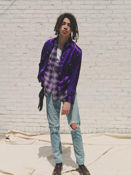 The Letters Rayon Satin Box Rib Shirt Jacket - Purple