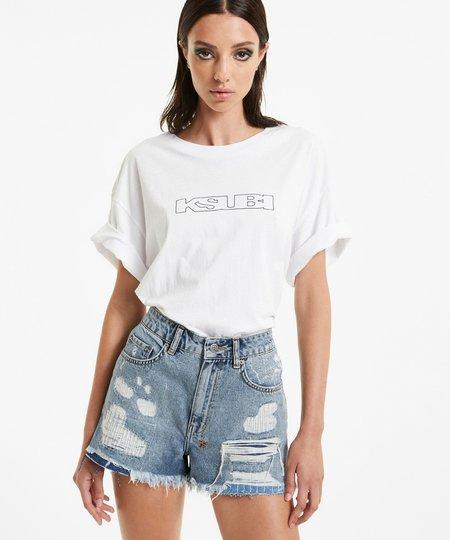 Ksubi Rise N Hi Misfit Trashed Shorts - Denim