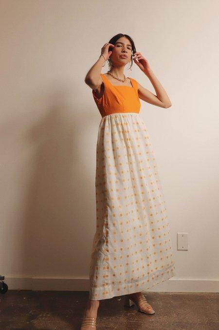 Vintage 1960s Floral Dot Maxi Dress -  Orange