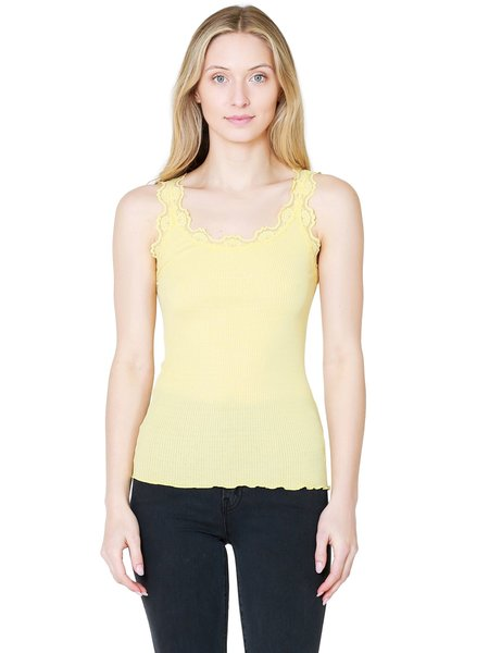 Rosemunde Silk Tank Top with Vintage Lace - Vanilla Yellow